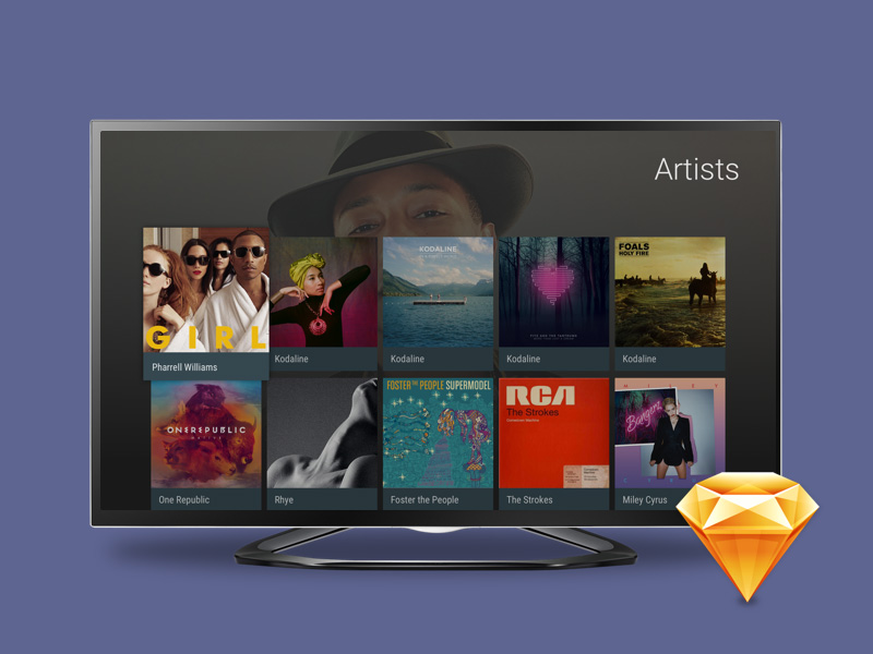 Android TV UI Kit for Sketch Freebie - Download Sketch Resource