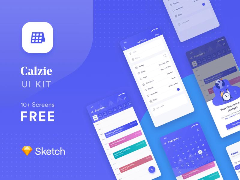 Smart Calendar App UI Kit - Calzie Freebie - Download Sketch