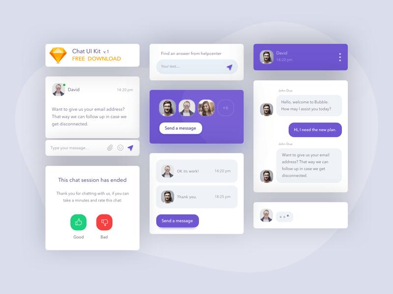 Chat UI Kit Freebie - Download Sketch Resource - Sketch Repo