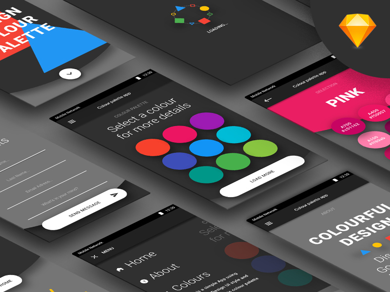 Color Palette App Concept Freebie Download Sketch Resource