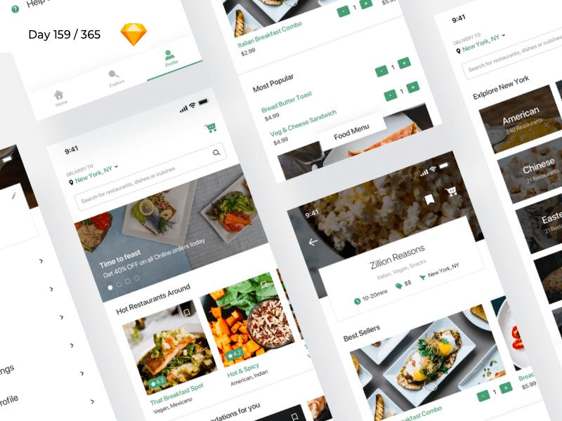 Food Delivery iOS App UI Freebie - Download Sketch Resource