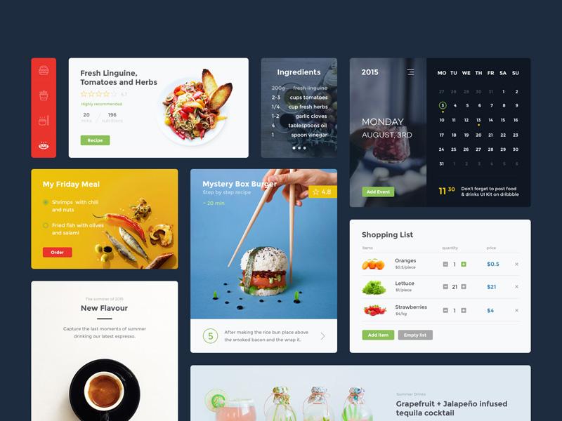 Food & Drink UI Kit Freebie - Download Sketch Resource