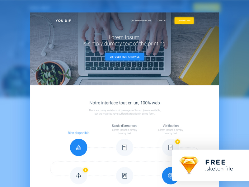 Modern Website Template Freebie - Download Sketch Resource - Sketch Repo