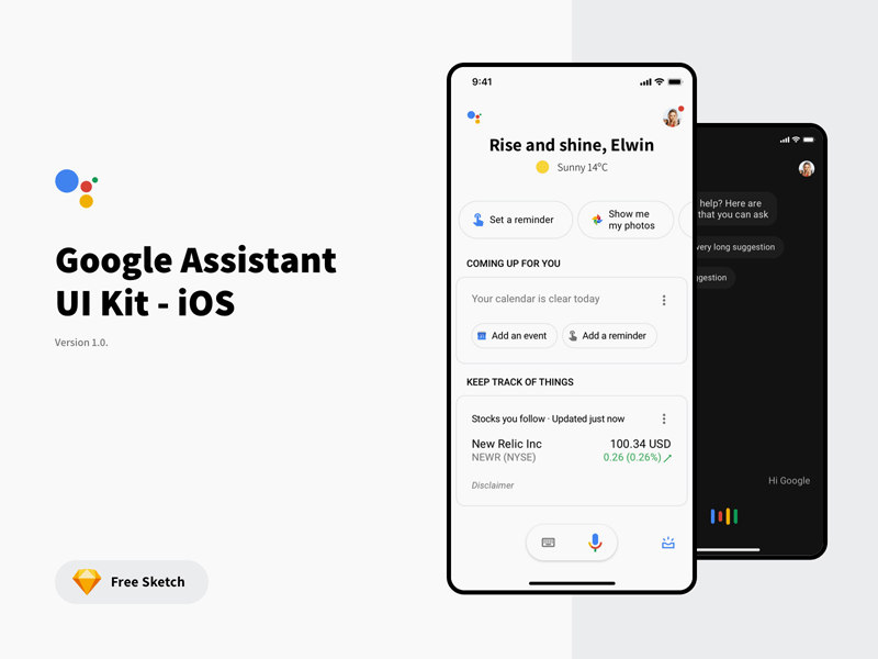 Google Assistant App Concept Freebie - Download Sketch