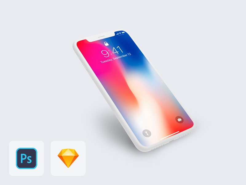 iPhone X Perspective Clay Mockup Freebie - Download Sketch