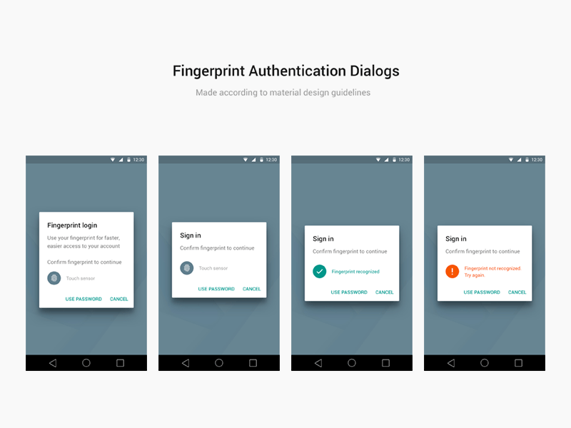 Android Material Design Fingerprint Dialogs for Sketch Freebie