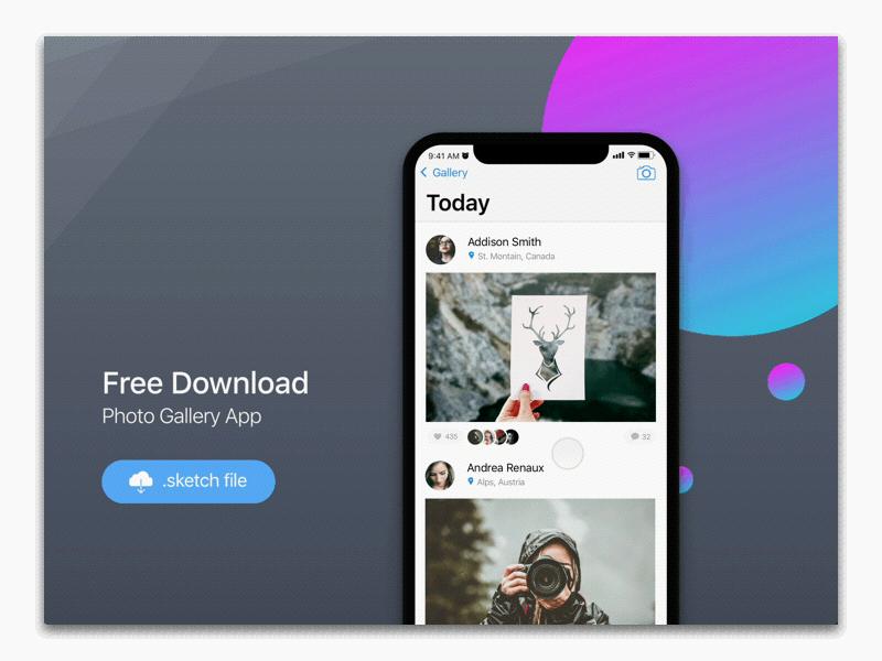 Photo Gallery App Freebie - Download Sketch Resource - Sketch Repo