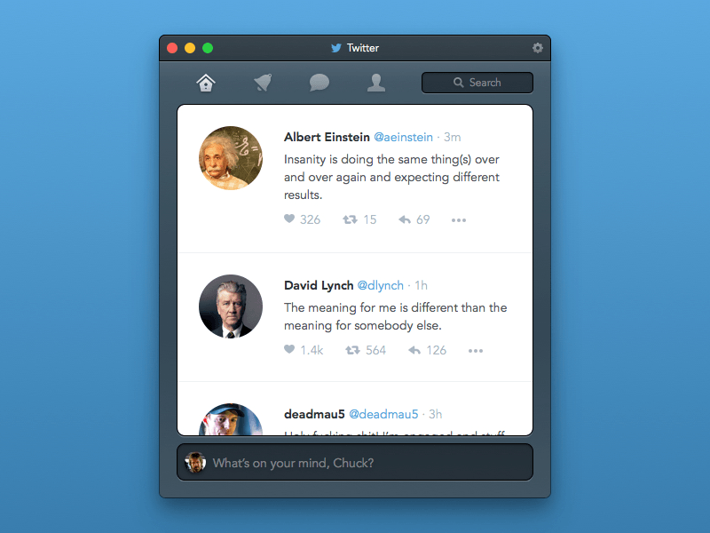 Twitter Mac Os App Concept Freebie Download Sketch Resource Sketch Repo